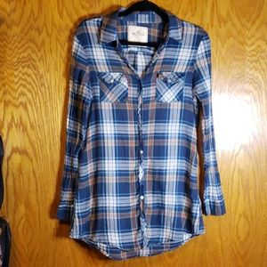 Hollister Extra Long Button Up Plaid Shirt